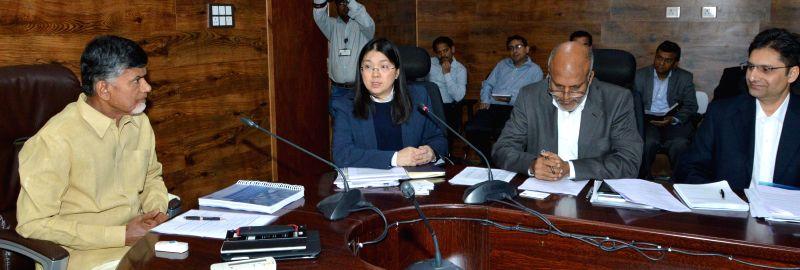 A delegation of Asian Development Bank calls on Andhra Pradesh Chief Minister N. Chandrababu Naidu at the Andhra Pradesh Secretariat in Hyderabad, on Dec 10, 2014. - N. Chandrababu Naidu