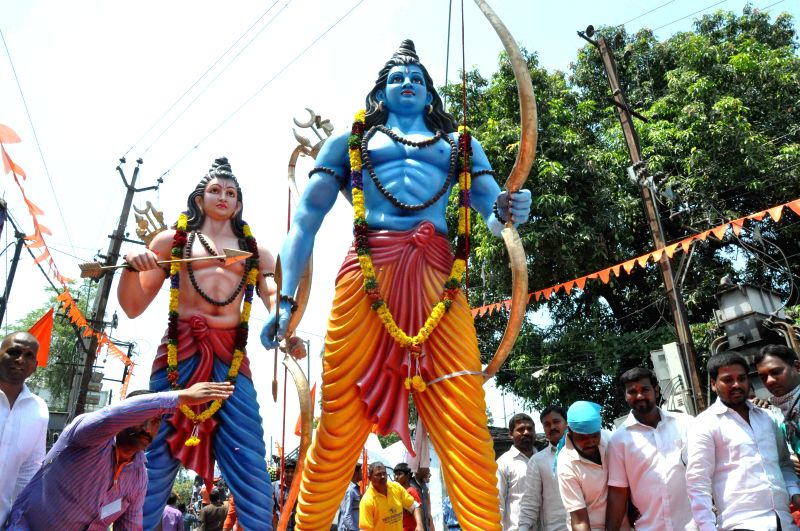 A procession rally organised on the occasion of Ram Navmi near Sitaram Bagh temple at Mangalhat in Hyderabad on March 28, 2015.