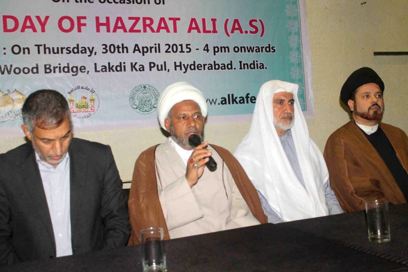 A Shia delegation led by Moulana Asad Ali from Iraq addresses a press conference in Hyderabad on April 30, 2015.