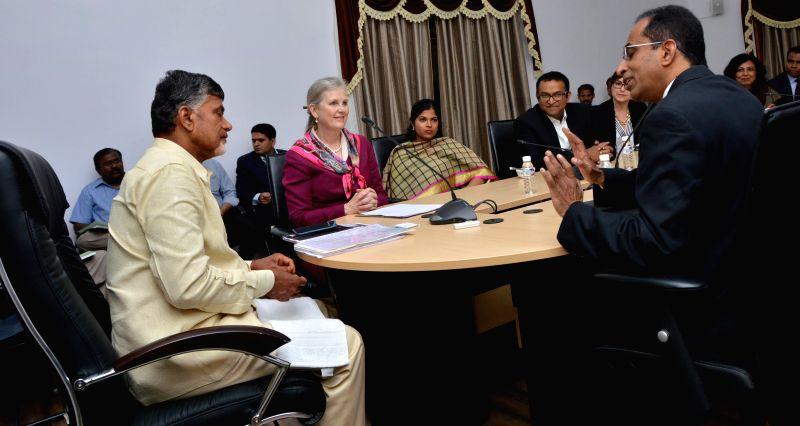 A US business delegation calls on Andhra Pradesh Chief Minister N. Chandrababu Naidu in Hyderabad, on April 20, 2015. - N. Chandrababu Naidu