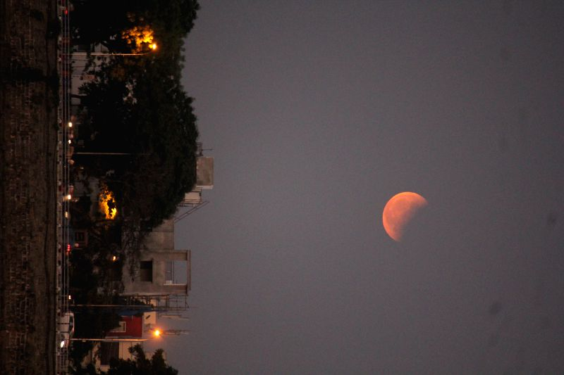 A view of a moon during the lunar eclipse in Hyderabad, on April 4, 2015.