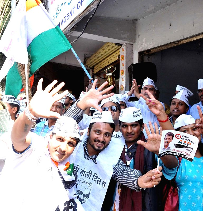 Aam Aadmi Party (AAP) leaders celebrate party's performance in the recently concluded Delhi Assembly Polls in Hyderabad, on Feb 10, 2015.