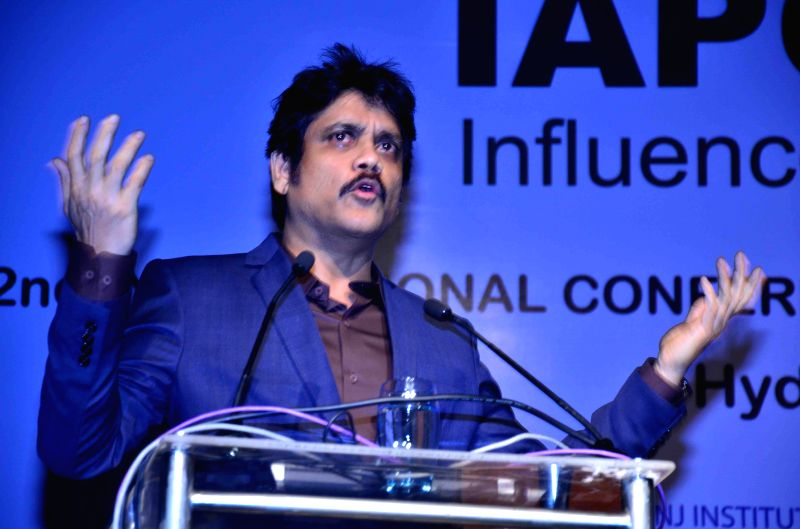 Actor Akkineni Nagarjuna addresses at the inauguration of IAPCON 2015 in Hyderabad on Feb 13, 2015.