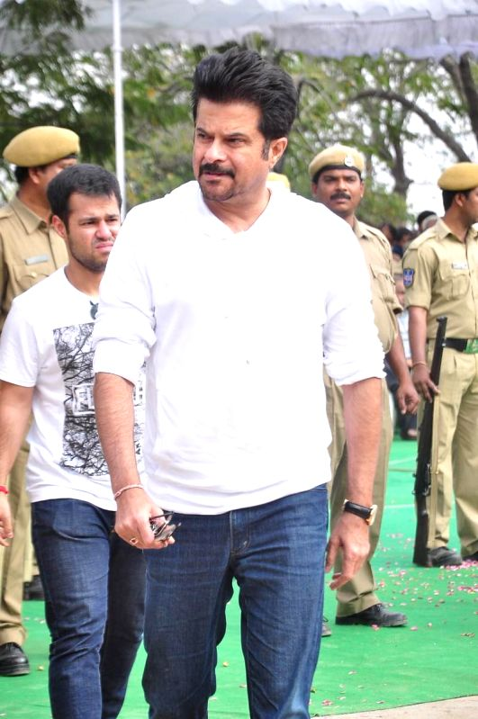 Actor Anil Kapoor at the funeral of legendary filmmaker Daggubati Ramanaidu who breathed his last on 18th Feb 2015, in Hyderabad on Feb 19, 2015. - Anil Kapoor