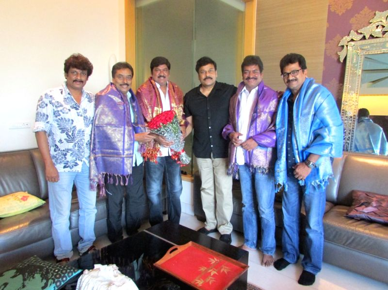 Actor Chiranjeevi invited newly elected MAA members to his residence and felicitated them, on April 18, 2015.