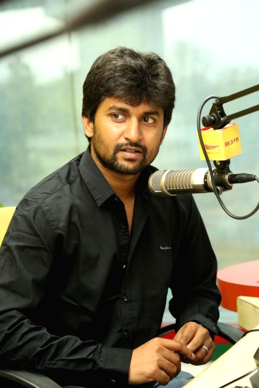 Actor Nani at 98.3 FM in Hyderabad.