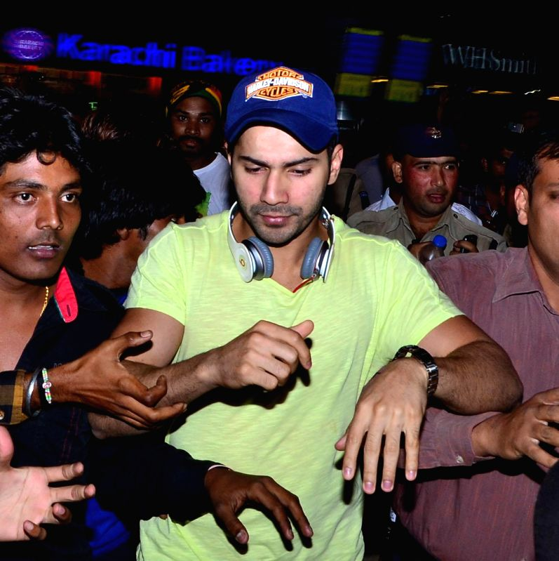 Actor Varun Dhawan arrive at Shamshabad Airport to attend wedding ceremony of Salman`s sister in Hyderabad. - Varun Dhawan