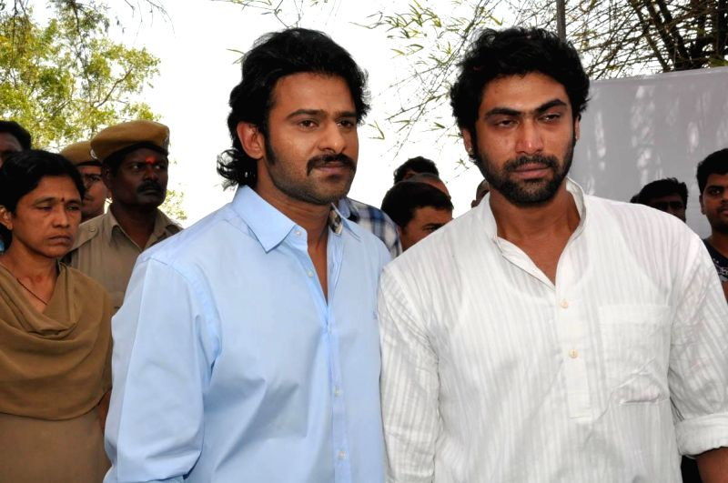 Actors Prabhas with Rana Daggubati arrive to pay their last respect to multilingual Indian film producer Daggubati Ramanaidu (D Ramanaidu), who breathed his last on 18th Feb 2015 , in ... - Prabhas