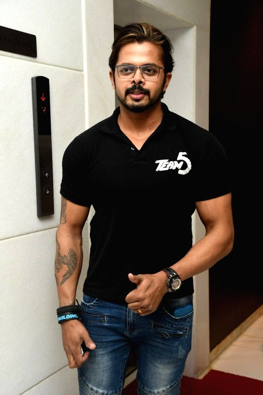 """Hyderabad: Actors S. Sreesanth during the trailer launch of their upcoming Malayalam film """"Team 5""""."""