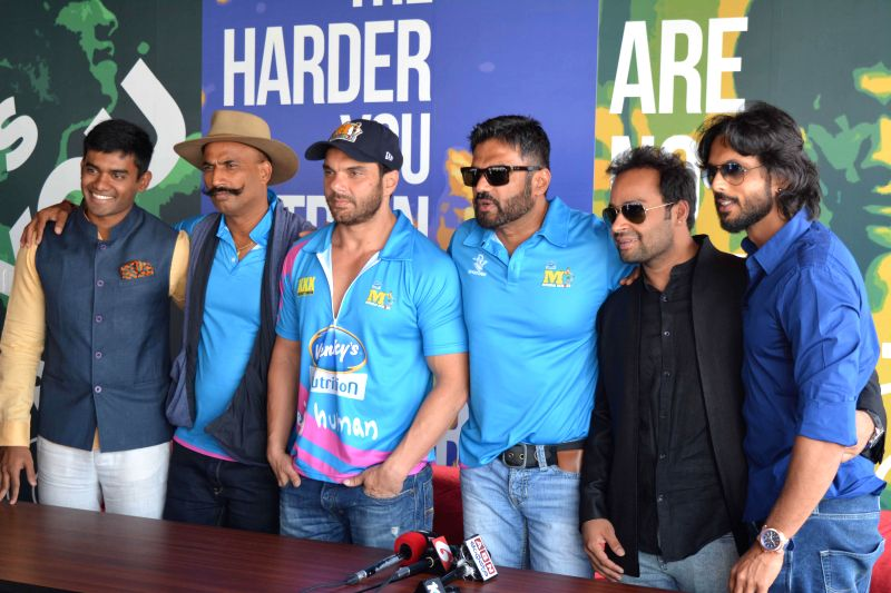 Actors Sunil Shetty and Sohail Khan at Core Fitness Station Launching situated at  Hotel Daspalla Hotel in Hyderabad. - Sunil Shetty and Sohail Khan