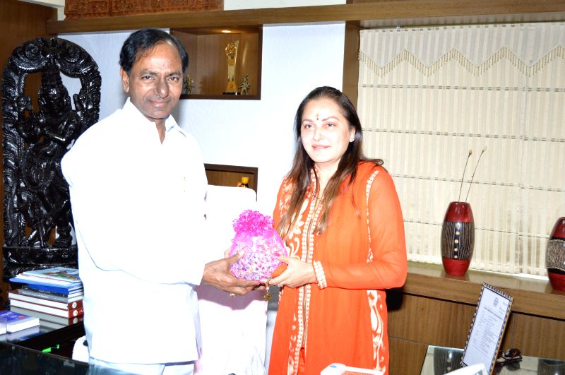 Actress and politician Jaya Prada calls on the Telangana Chief Minister K Chandrashekar Rao at Secretariat in Hyderabad, on Feb 21, 2015. (Photo : IANS) - K Chandrashekar Rao