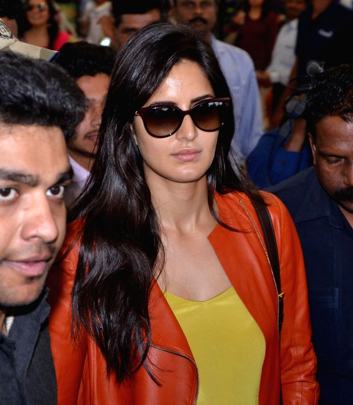 Actress Katrina Kaif arrive at Shamshabad Airport to attend wedding ceremony of Salman`s sister in Hyderabad. - Katrina Kaif