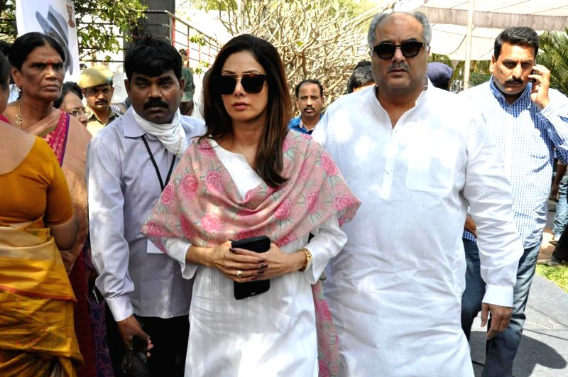 Actress Sridevi and film producer Boney Kapoor arrive to pay their last respect to multilingual Indian film producer Daggubati Ramanaidu (D Ramanaidu), who breathed his last on 18th Feb ... - Kapoor