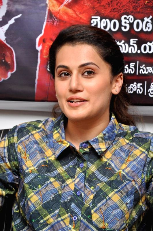 Actress Tapsee spoke to media on her recent release Ganga movie in Hyderabad on 9th May, 2015.