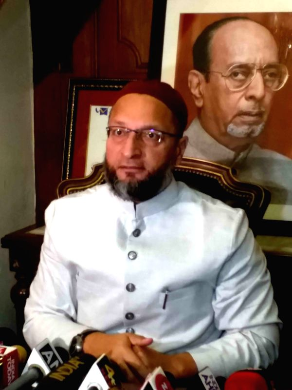 Hyderabad: AIMIM MP Asaduddin Owaisi talks to the media over Delhi violence that has claimed the lives of nine; in Hyderabad on Feb 25, 2020.