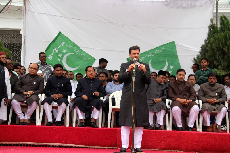 All India Majlis-e-Ittihad ul-Muslimeen (MIM) leader and Andhra Pradesh MLA Akbaruddin Owaisi addresses during a programme organised on the foundation day of the party in Hyderabad on ...