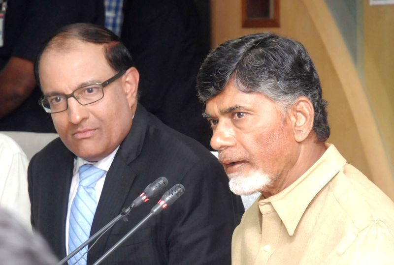 Andhra Pradesh Chief Minister N. Chandrababu Naidu during a press conference after signing a MoU with Singapore to prepare a master plan and develop a world-class capital city of Andhra ... - N. Chandrababu Naidu
