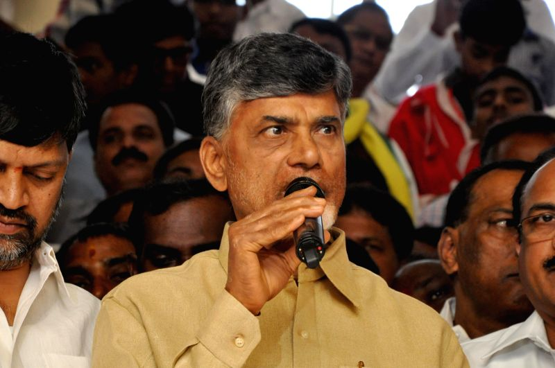 Andhra Pradesh Chief Minister N. Chandrababu Naidu addresses during a programme organised to celebrate Christmas in Hyderabad on Dec 25, 2014. - N. Chandrababu Naidu
