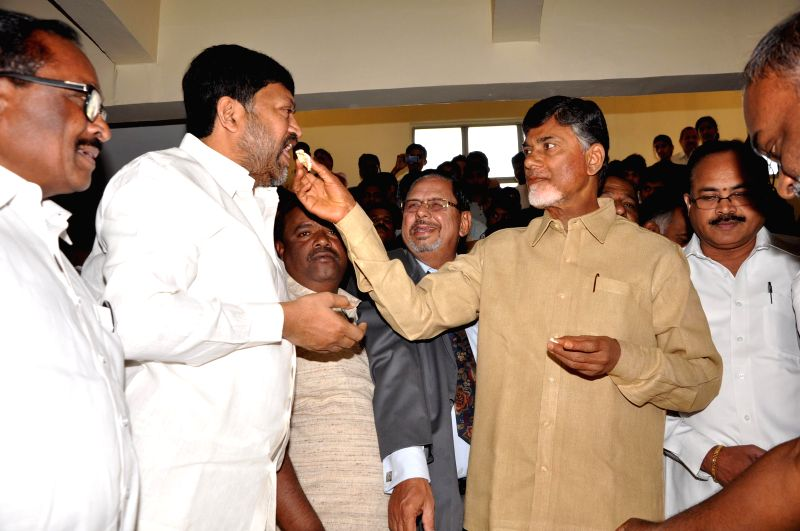 Andhra Pradesh Chief Minister N. Chandrababu Naidu during a programme organised to celebrate Christmas in Hyderabad on Dec 25, 2014. - N. Chandrababu Naidu