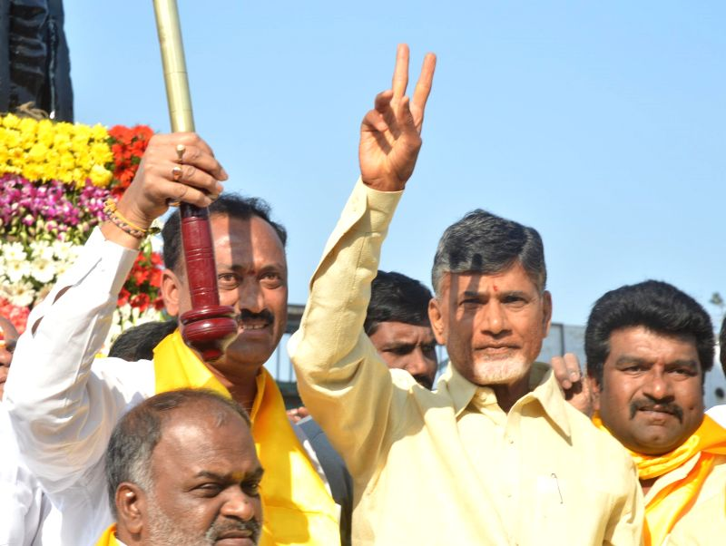 Andhra Pradesh Chief Minister N. Chandrababu Naidu pays tribute to N. T. Rama Rao in Hyderabad, on Jan 18, 2015. - N. Chandrababu Naidu
