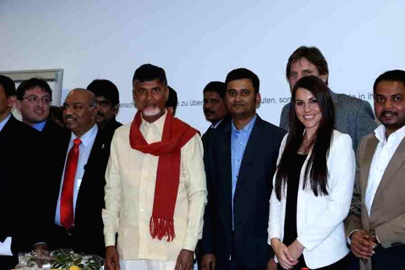 Andhra Pradesh Chief Minister N. Chandrababu Naidu during a meeting with Telegu NRIs from Switzerland, in Hyderabad, on Jan 21, 2015. - N. Chandrababu Naidu