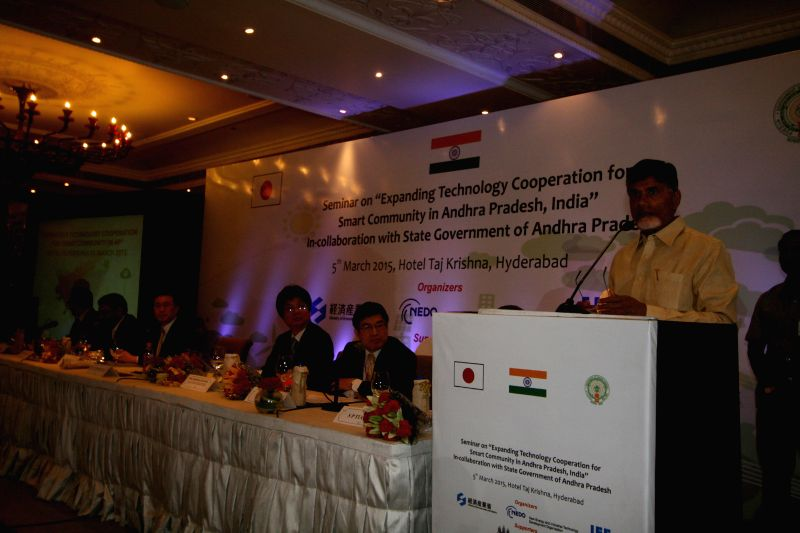 Andhra Pradesh Chief Minister N. Chandrababu Naidu addresses during a seminar on `Expanding Technology Cooperation for Smart Community in Andhra Pradesh, India` in Hyderabad on March 5, ... - N. Chandrababu Naidu