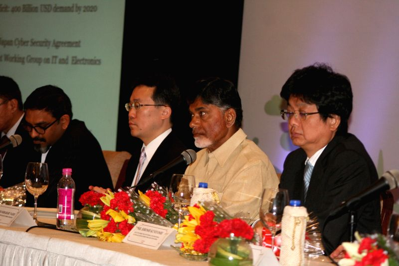 Andhra Pradesh Chief Minister N. Chandrababu Naidu during a seminar on `Expanding Technology Cooperation for Smart Community in Andhra Pradesh, India` in Hyderabad on March 5, 2015. - N. Chandrababu Naidu