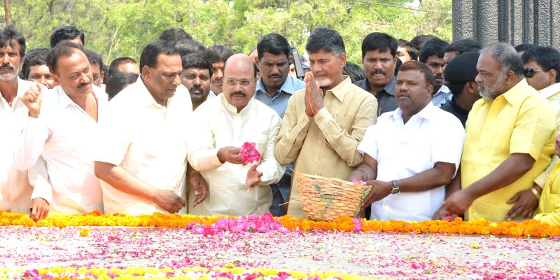 Andhra Pradesh Chief Minister N. Chandrababu Naidu pays homage at NTR Ghat on the 34th formation day of the party in Hyderabad, on March 29, 2015. - N. Chandrababu Naidu