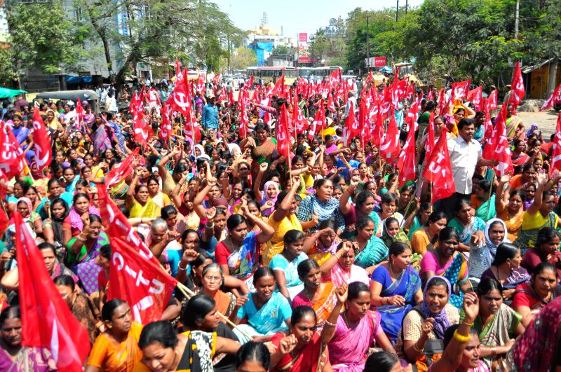 Anganwadi workers affiliated to CITU stage a demonstration press for their demands in Hyderabad on March 17, 2015.