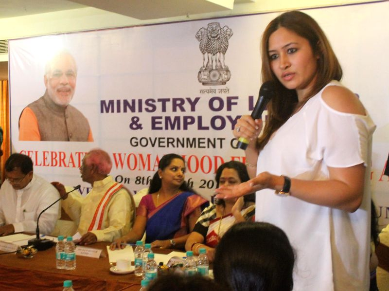 Badminton player Jwala Gutta during a programme organised on International Women's Day in Hyderabad on March 8, 2015.