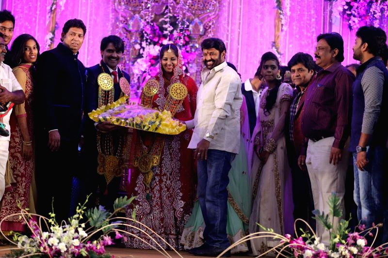 Balakrishna attended comedian Ali borther Khayyym`s marriage reception at Sandhya Convention Centre at Gachibowli in Hyderabad.