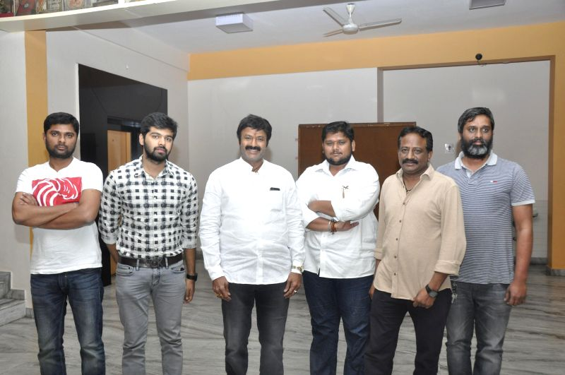 Balakrishna watched special screening of Tungabhadra movie at Prasad Labs in Hyderabad on Sunday (15th Mar) .