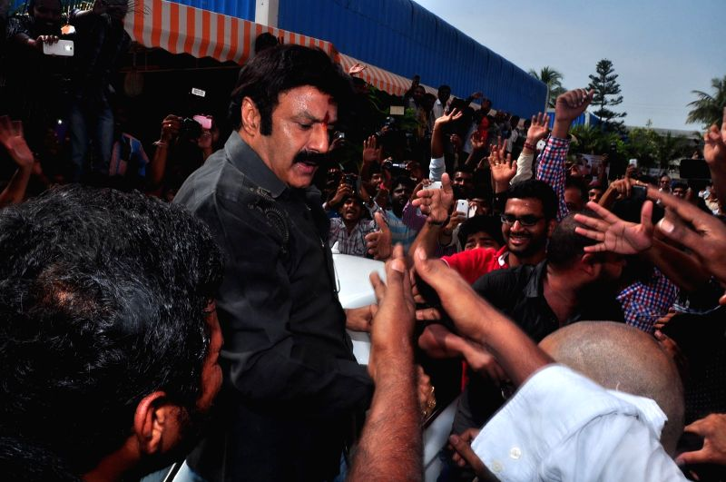 Balakrishna watches Lion Movie at Bramarambha Theatre at Hyderabad