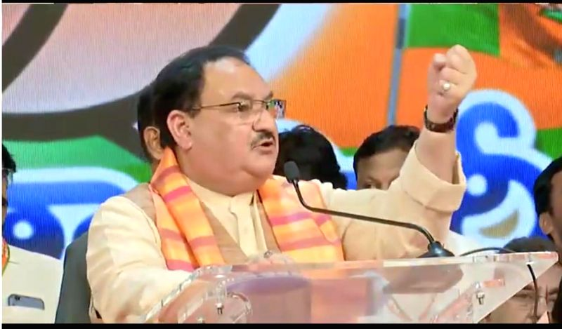 Hyderabad: BJP Working President JP Nadda addresses during a public meeting in Hyderabad on Aug 18, 2019.