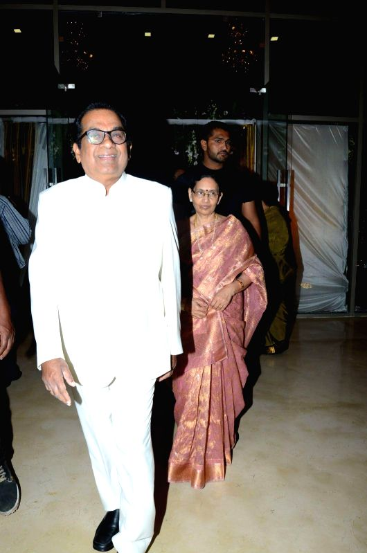 Brahmanandam attended comedian Ali borther Khayyym`s marriage reception at Sandhya Convention Centre at Gachibowli in Hyderabad.