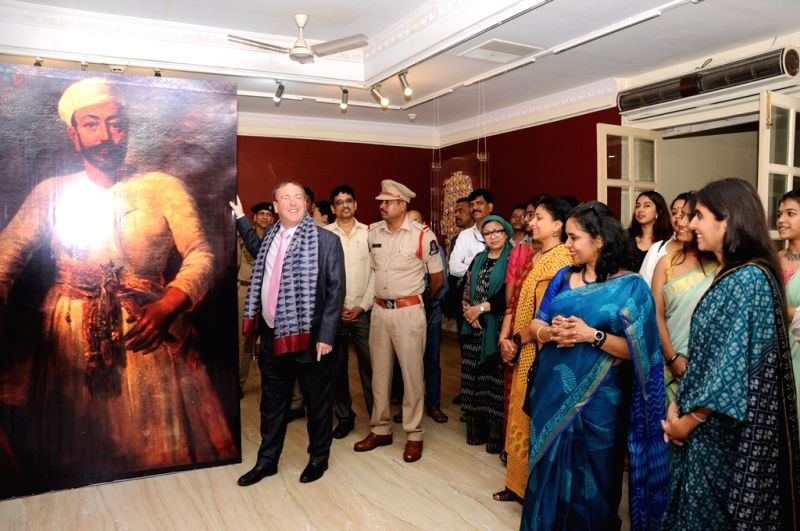 Hyderabad: British Deputy High Commissioner Andrew Fleming at the inauguration of exhibition on Sherwani as part of the Hyderabad Design Week that began at Salar Jung Museum, on Oct 9, 2019. (Photo: IANS)