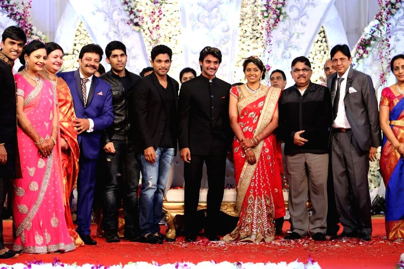 Celebs at Aadi marriage reception held at Hyderabad on Saturday 13 Dec. 2014.