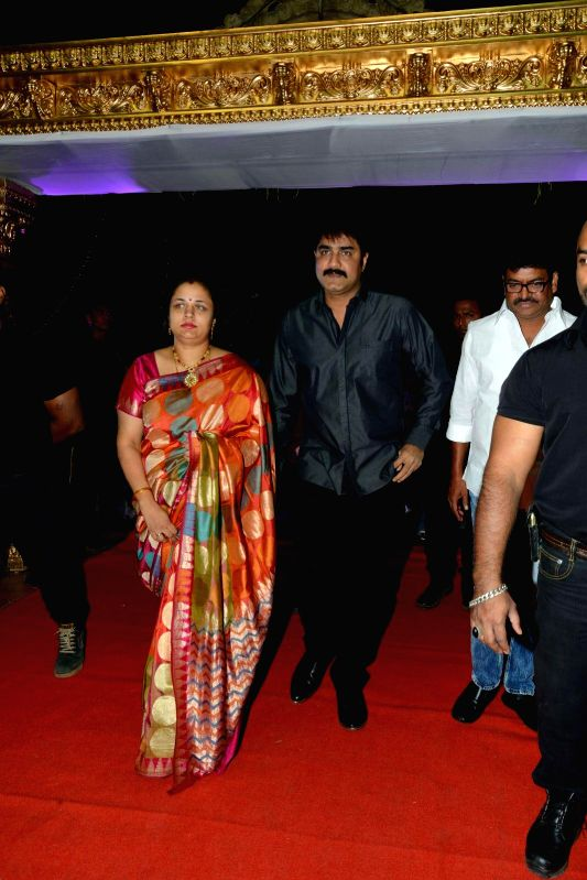 Celebs at Rajendra Prasad`s Son Balaji and Siva Shankari marriage Reception held in Hyderabad, on Feb 9, 2015.