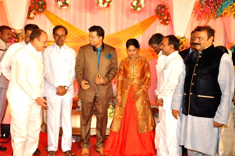 Celebs at Talasani Srinivasa Yadav`s daughter marriage reception.