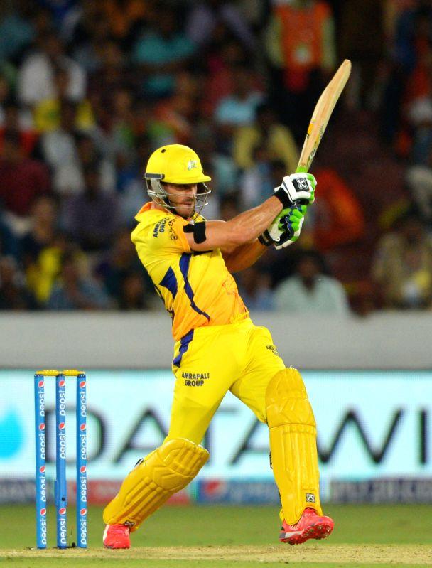 Chennai Super Kings batsman Faf du Plessis in action during an IPL-2015 match between Chennai Super Kings and Sunrisers Hyderabad at Rajiv Gandhi International Stadium, Uppal in Hyderabad ... - Faf