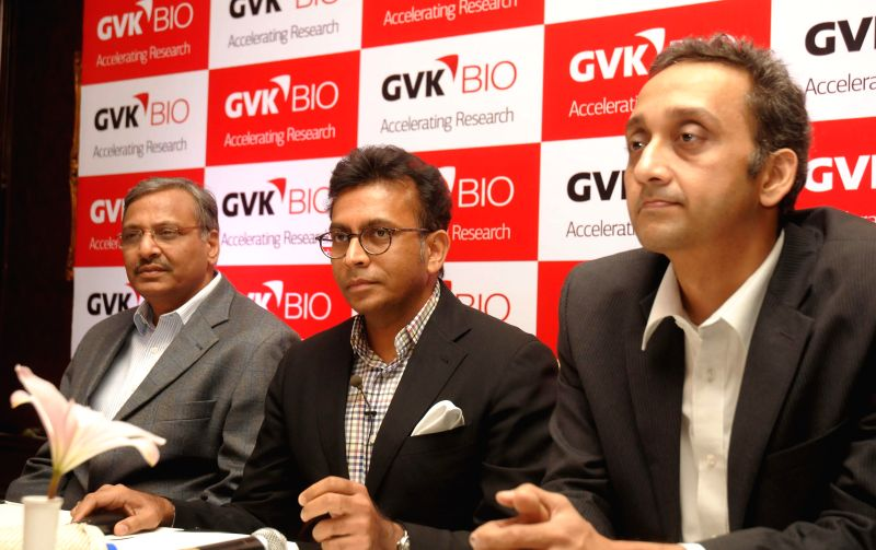 Chief Scientific Officer GVK Bio Dr J.B. Gupta, CEO GVK Bio Mani Kantipudi during a press conference in Hyderabad on Dec 8, 2014. - B. Gupta