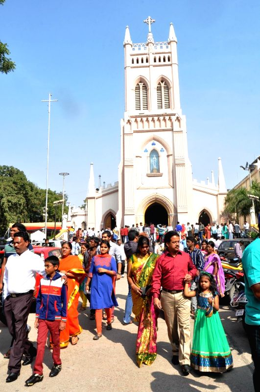 Christmas celebrations at a Hyderabad Church on Dec 25, 2014.