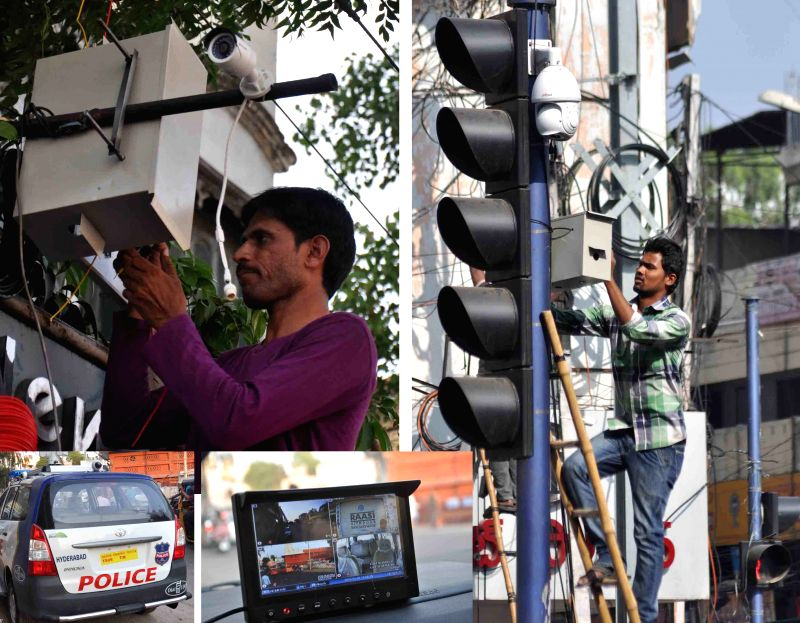 (Combo picture) CCTV cameras being installed at strategic locations in Hyderabad on the eve of Hanuman Jayanti on April 3, 2015.