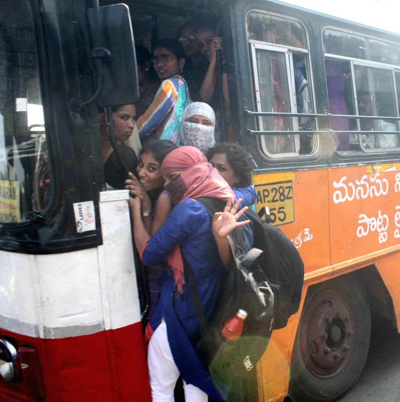 Commuters inconvenienced as Andhra Pradesh State Road Transport Corporation employees go on a strike in Hyderabad, on April 2, 2015.