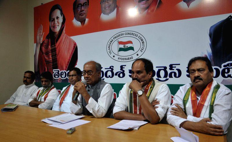 Congress General Secretary Digvijay Singh addresses a press conference in Hyderabad on April 2, 2015.