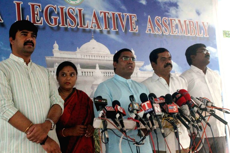 Congress legislator Chinna Reddy addresses a press conference at Telangana Assembly premises in Hyderabad, on March 25, 2015. - Chinna Reddy