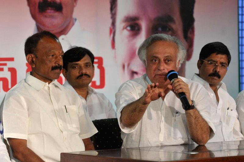 Congress MP Jairam Ramesh addresses during a programme in Hyderabad, on April 3, 2015.