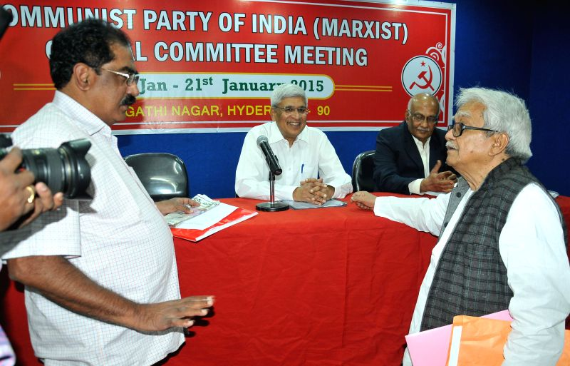CPI(M) General Secretary Prakash Karat, Left Front chairman Biman Bose and others  during a CPI(M) programme in Hyderabad, on Jan 20, 2015. - Biman Bose