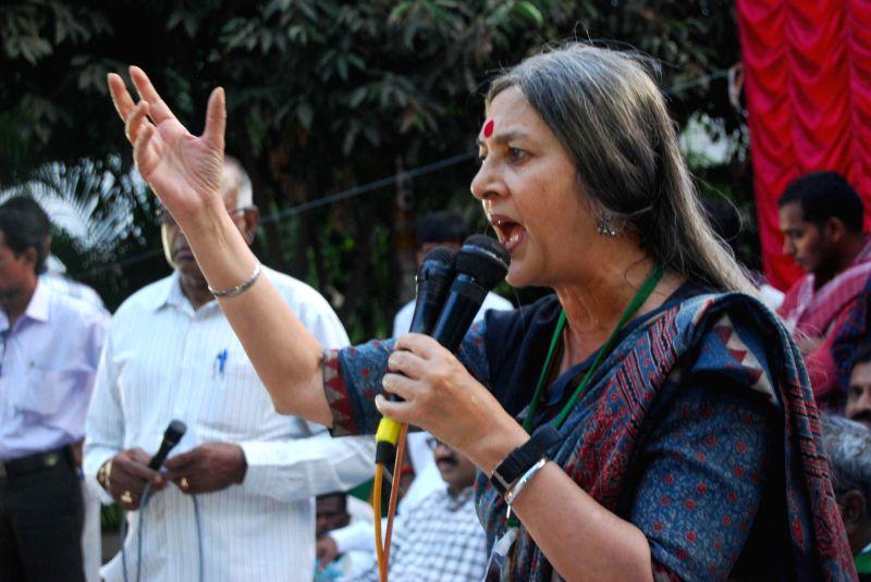 CPI (M) leader Brinda Karat addresses during a programme in Hyderabad on Dec 14, 2014.