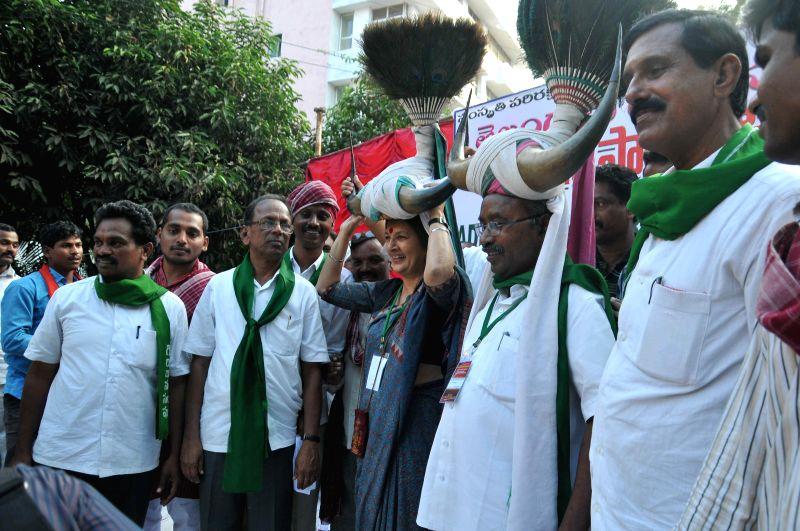 CPI (M) leader Brinda Karat during a programme in Hyderabad on Dec 14, 2014.